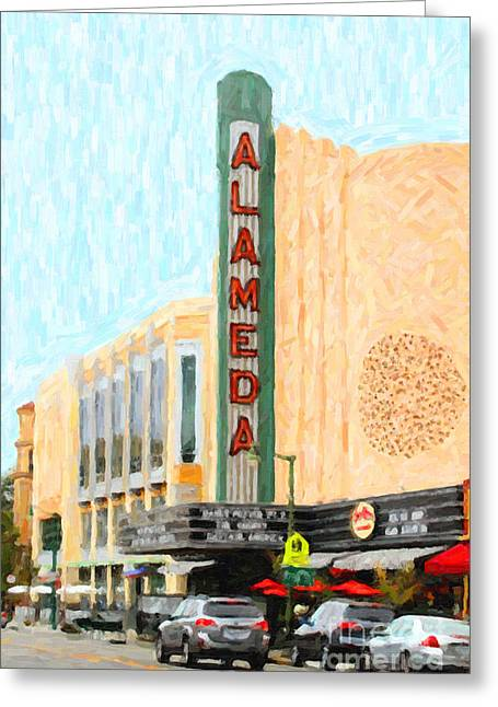 East Bay Digital Art Greeting Cards - Alameda Theater Greeting Card by Wingsdomain Art and Photography