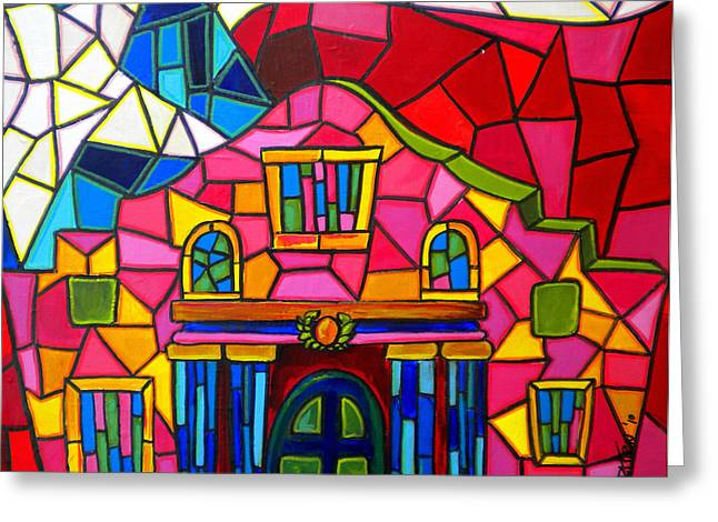 Historical Buildings Greeting Cards - Alamo Mosaic Two Greeting Card by Patti Schermerhorn