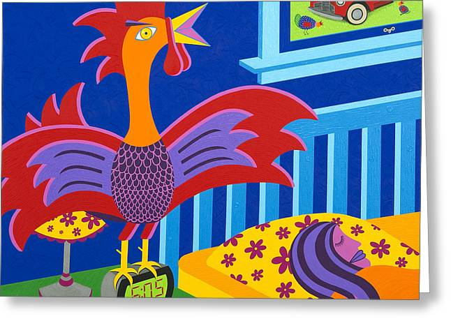 Bright Color Rooster Greeting Cards - Alarm Cock Greeting Card by Kort Duce