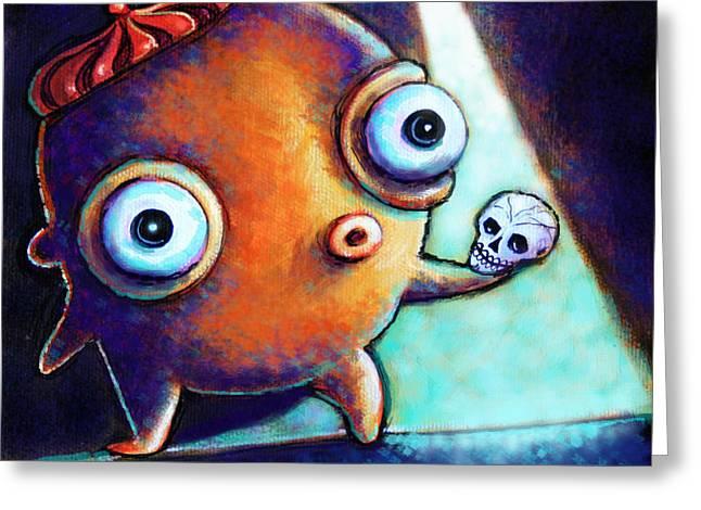 Little Monsters Greeting Cards - Alas poor Yorick Greeting Card by Leanne Wilkes