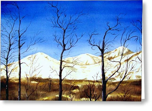 Kodiak Paintings Greeting Cards - Alaska Blue Sky Day  Greeting Card by Brenda Owen
