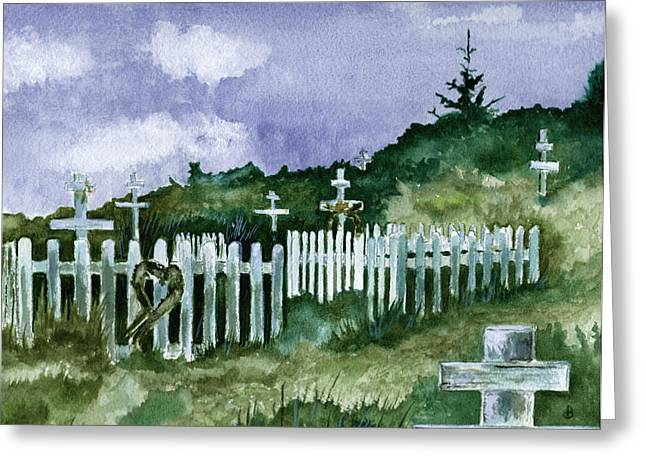 Kodiak Paintings Greeting Cards - Alaska Graveyard  Greeting Card by Brenda Owen