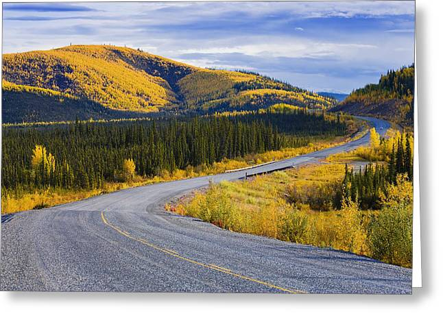 Yellow Line Greeting Cards - Alaska Highway Near Beaver Creek Greeting Card by Yves Marcoux