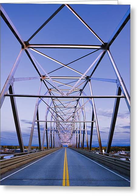 One Point Perspective Greeting Cards - Alaska Native Veterans Honor Bridge Greeting Card by Yves Marcoux