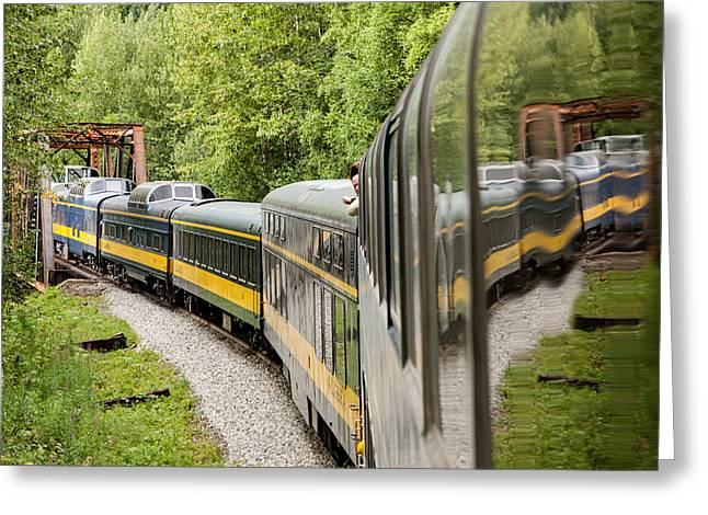 Up201209 Greeting Cards - Alaska Railroad Four Greeting Card by Josh Whalen