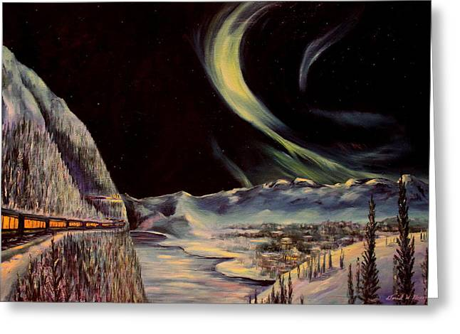 Express Paintings Greeting Cards - Alaskan Lights Greeting Card by Daniel W Green