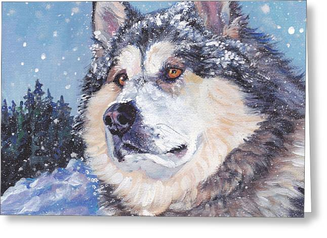 Sled Dogs Greeting Cards - Alaskan Malamute Greeting Card by Lee Ann Shepard
