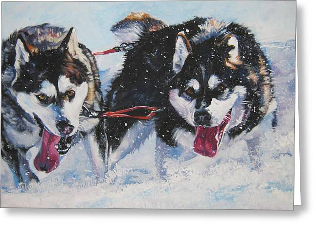 Sled Dogs Greeting Cards - Alaskan Malamute strong and steady Greeting Card by L A Shepard