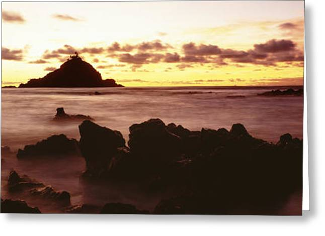 Amazing Sunset Greeting Cards - Alau Islet from Hana Shore Greeting Card by Carl Shaneff - Printscapes