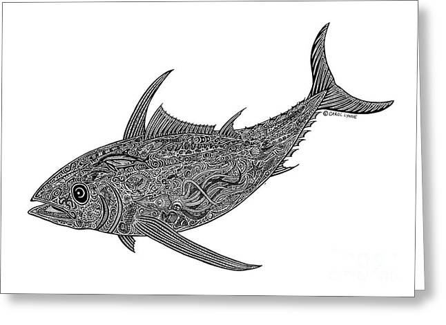 Diving Drawings Greeting Cards - Albacore Greeting Card by Carol Lynne