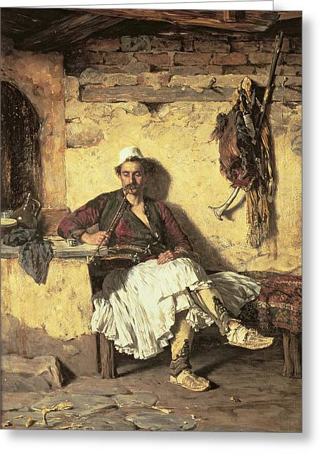 Smoker Greeting Cards - Albanian Sentinel Resting Greeting Card by Paul Jovanovic