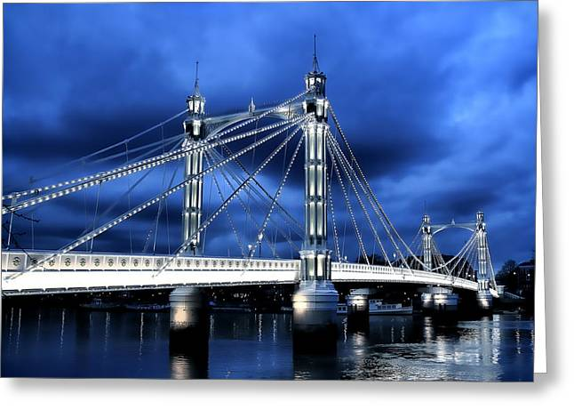 Chelsea Greeting Cards - Albert bridge London Greeting Card by Jasna Buncic