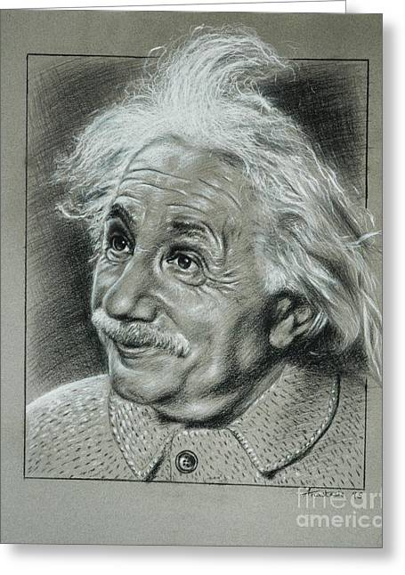 Atom Bomb Greeting Cards - Albert Einstein Greeting Card by Anastasis  Anastasi
