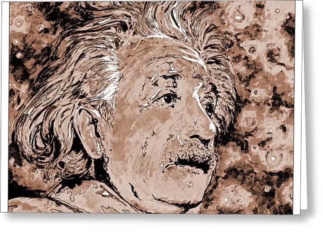 Albert Einstein Greeting Card by Detlev Van Ravenswaay