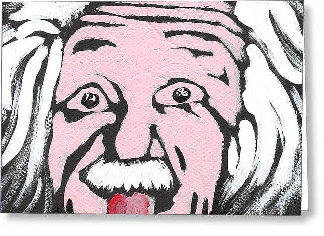 Sticking Out Greeting Cards - Albert Einstein Greeting Card by Jera Sky