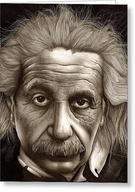 Lee Appleby Greeting Cards - Albert Einstein-Millenium Man Greeting Card by Lee Appleby
