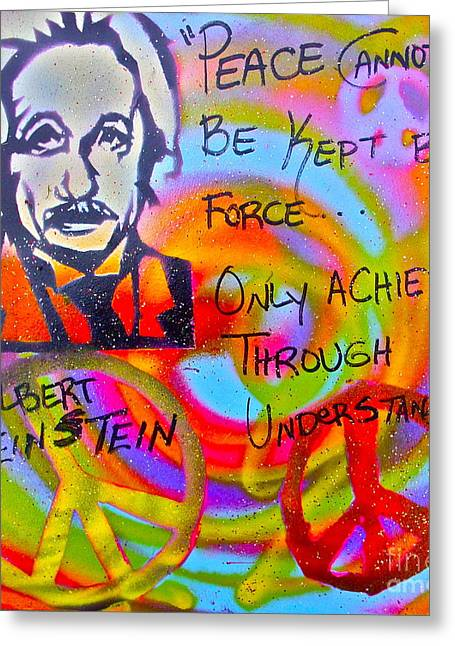 99 Percent Greeting Cards - Albert Einstein PEACE Greeting Card by Tony B Conscious