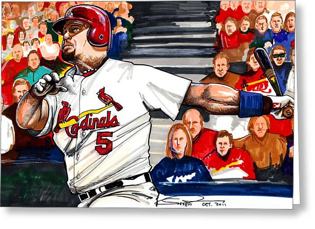 2011 World Series Greeting Cards - Albert Pujols Greeting Card by Dave Olsen