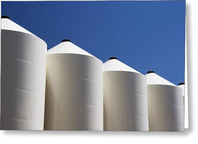 Grain Bin Greeting Cards - Alberta, Canada Large White Metal Grain Greeting Card by Michael Interisano