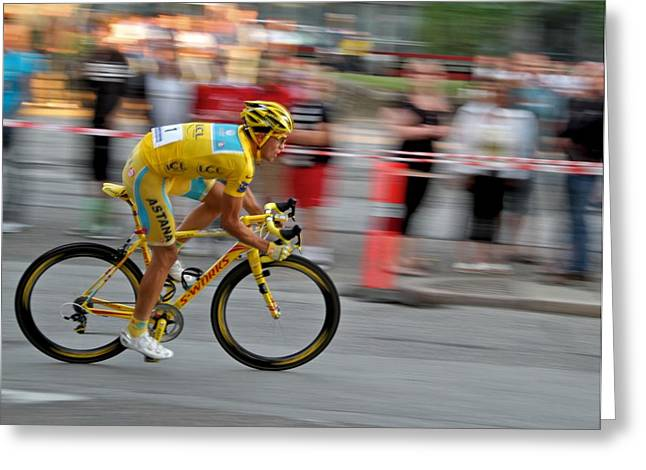 Street Race Greeting Cards - Alberto Contador speed Greeting Card by Odd Jeppesen