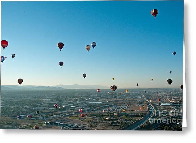 Balloon Fiesta Greeting Cards - Albuquerque View Greeting Card by Jim Chamberlain