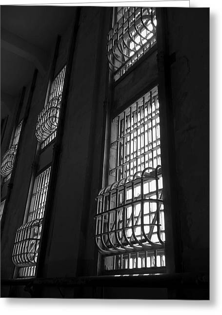 Alcatraz Greeting Cards - Alcatraz Federal Penitentiary Cell House Barred Windows Greeting Card by Daniel Hagerman