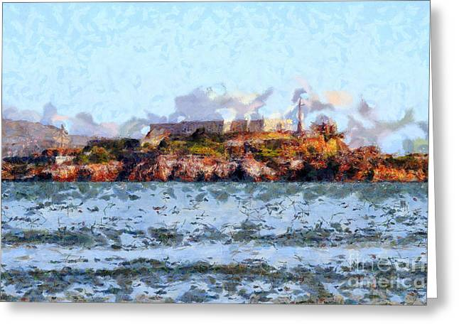 Alcatraz Island in San Francisco California . 7D14031 Greeting Card by Wingsdomain Art and Photography