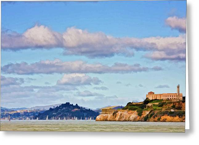 Sailboat Ocean Greeting Cards - Alcatraz Island Greeting Card by Patricia Stalter