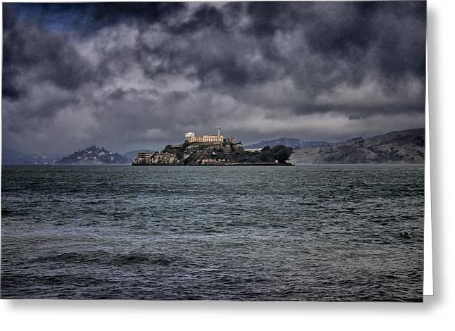 San Francisco Bay Pyrography Greeting Cards - Alcatraz Greeting Card by John Scharle