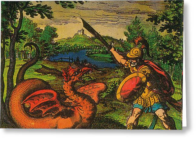 Alchemical Knight Slays The Primordial Greeting Card by Science Source