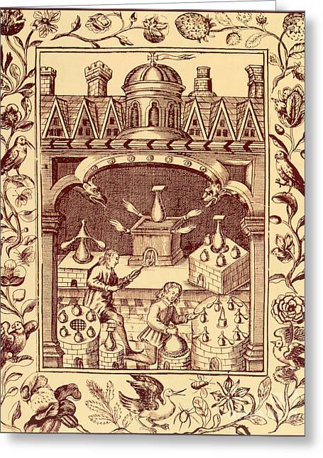 Alchemical Ovens Greeting Card by Science Source