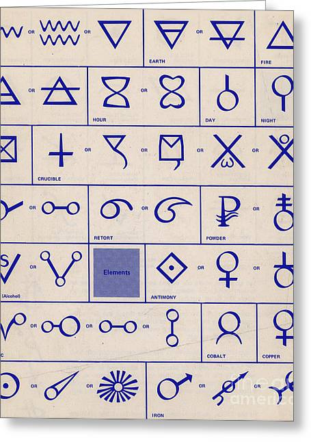 Alchemical Symbols Greeting Card by Science Source