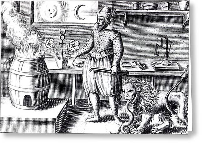 Alchemical Workshop, 17th Century Greeting Card by Science Source