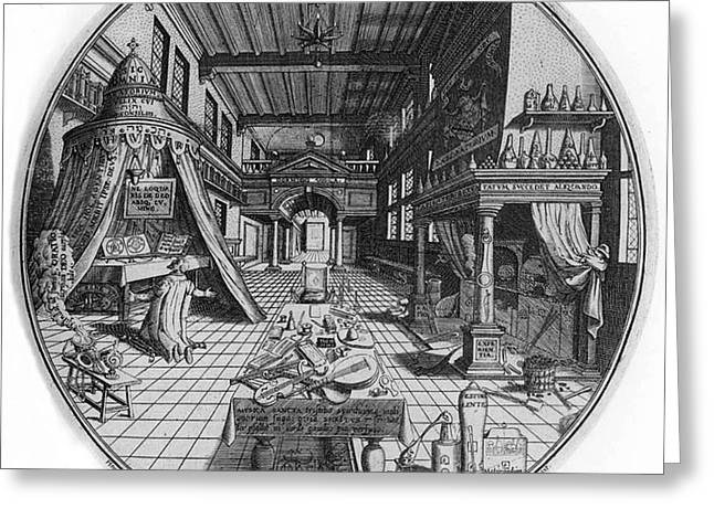 Alchemists Laboratory, 1595 Greeting Card by Science Source