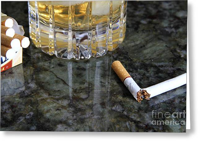 Carcinogenic Greeting Cards - Alcohol And Cigarettes Greeting Card by Photo Researchers