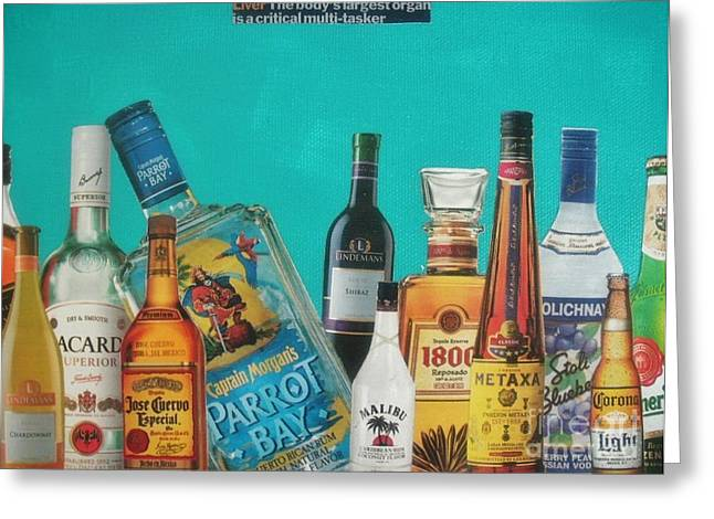 Rum Mixed Media Greeting Cards - Alcohol Greeting Card by Rachel Dunkin