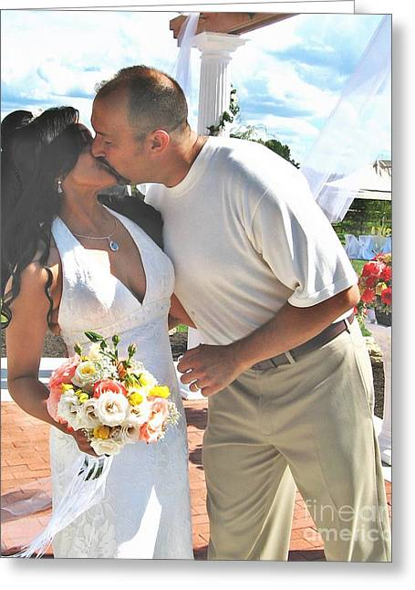 Bride And Groom Greeting Cards - Alda and Dave Greeting Card by Sarah Loft