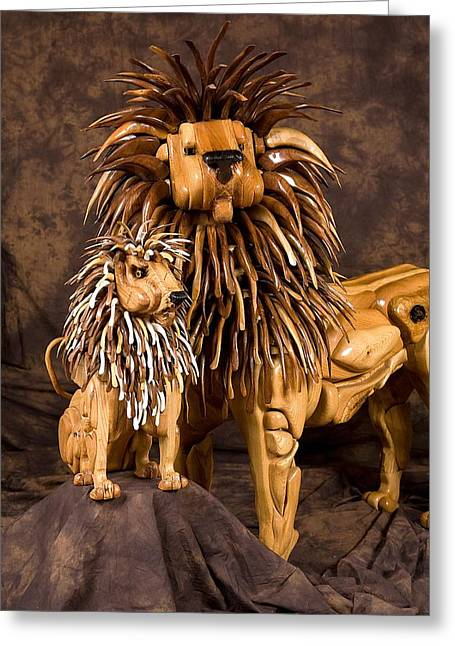 Lions Sculptures Greeting Cards - Aldamere Greeting Card by Thomas Thomas