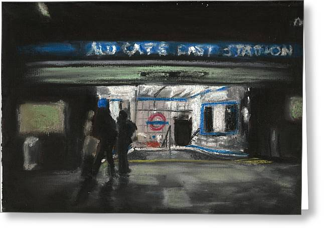 London Pastels Greeting Cards - Aldgate East Station Greeting Card by Paul Mitchell