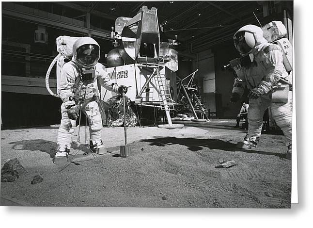 Armstrong Neil Greeting Cards - Aldrin And Armstrong Practicing Greeting Card by Nasa