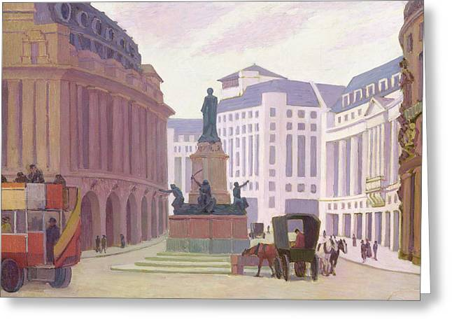 Horse And Cart Paintings Greeting Cards - Aldwych  Greeting Card by Robert Polhill Bevan