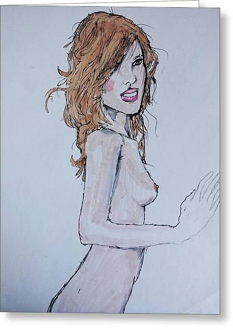 Full Body Drawings Greeting Cards - Alena Greeting Card by Sherman Bernard