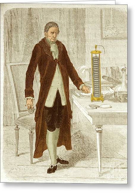 Men Of Honor Photographs Greeting Cards - Alessandro Volta, Italian Physicist Greeting Card by Science Source