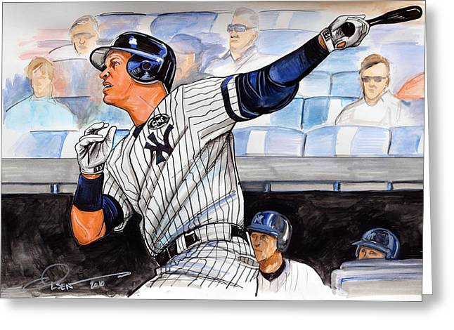 Yankees Drawings Greeting Cards - Alex Rodriguez Hits 600th Home Run Greeting Card by Dave Olsen