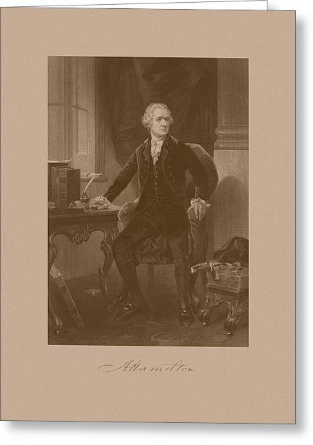 Hamilton Greeting Cards - Alexander Hamilton Sitting At His Desk Greeting Card by War Is Hell Store