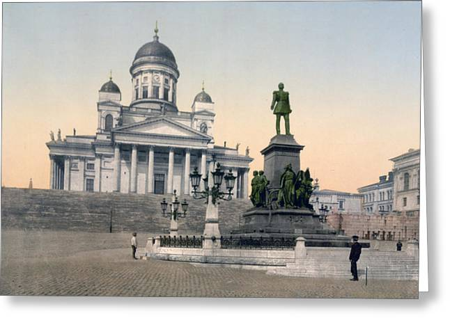 Helsinki Finland Greeting Cards - Alexander II Memorial at Senate Square in Helsinki Finland Greeting Card by International  Images