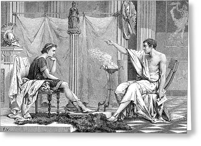 Aristotle Greeting Cards - Alexander Of Macedon And Aristotle Greeting Card by