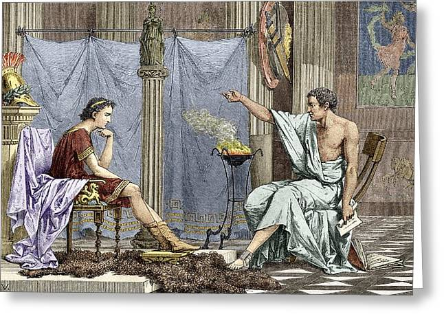 Aristotle Greeting Cards - Alexander Of Macedon And Aristotle Greeting Card by Sheila Terry