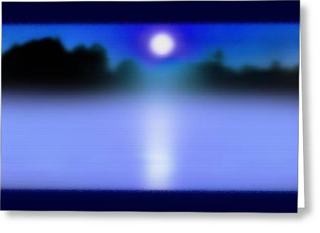 Moonshine Mixed Media Greeting Cards - Alexandria Bay Moonrise Mist Greeting Card by Steve Ohlsen