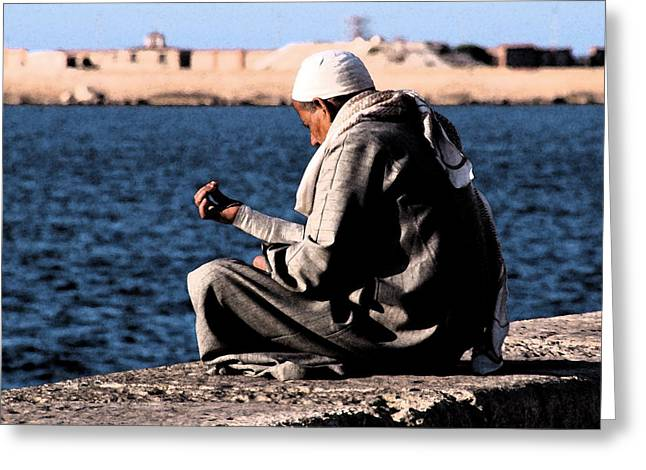 Man Praying Greeting Cards - Alexandria Egypt 124 Greeting Card by Per Lidvall